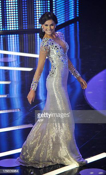 The new Miss Venezuela 2011 Irene Esser in the evening gown competition of the Miss Venezuela beauty pageant in Caracas on October 15 2011 AFP PHOTO/...