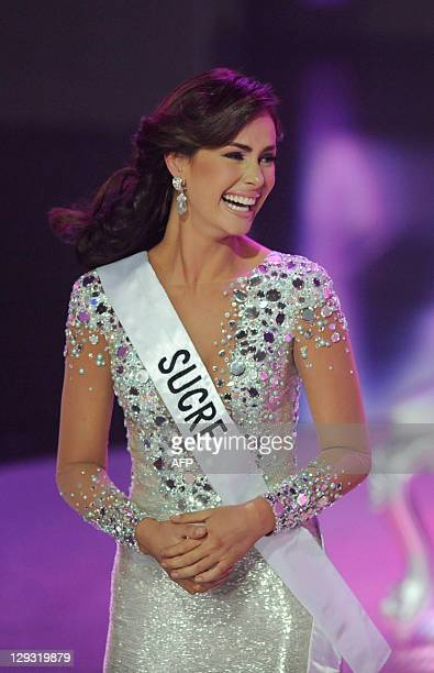 The new Miss Venezuela 2011 Irene Esser reacts after being selected in Caracas on October 15 2011 AFP PHOTO/ Leo RAMIREZ