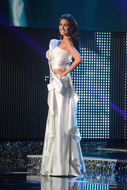 The new Miss Venezuela 2012 Maria Gabriela Isler stands on stage ...