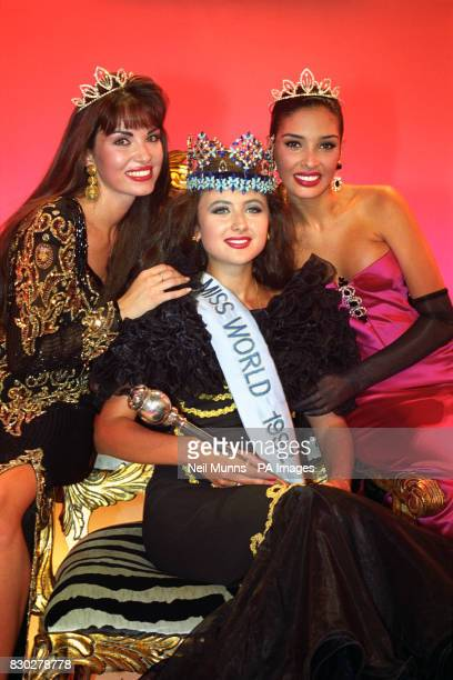 The new Miss World Julia Kurochkina from Russia is flanked by Miss UK Claire Smith who was second runner up Miss Venezuela Francis Gago in Sun City...
