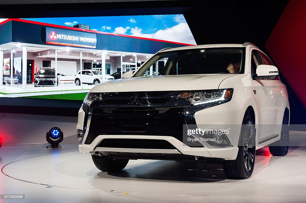 The New Mitsubishi Outlander PHEV Is Introduced At The New York  International Auto Show At The
