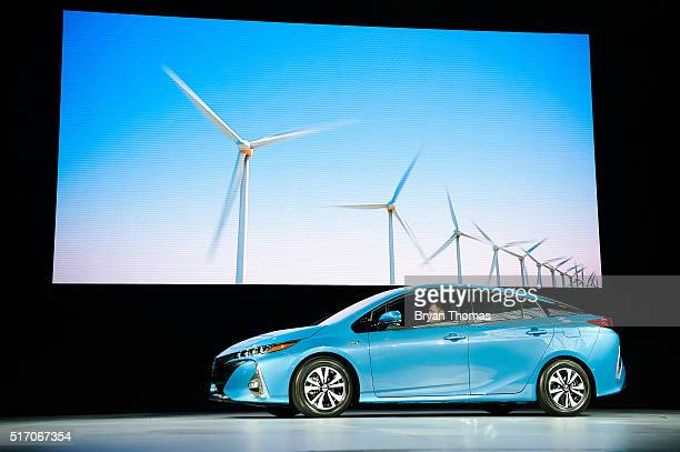 The new model of the Toyota Prius named the Prius Prime is introduced at the New York International Auto Show at the Javits Center on March 23 2016...