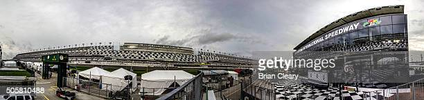 The new motorsports stadium geandstand rises above the race track during IMSA WeatherTech Series testing recently at Daytona International Speedway...