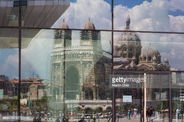 The new MuCEM gallery in Marseille with the cathedral reflected in the glass, Marseille, Provence, France, Europe