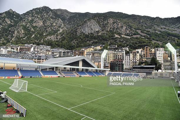 The new Municipal Stadium in Andorra during seen prior to the Euro 2016 qualifying round football match Andorra vs Wales on September 9, 2014. AFP...