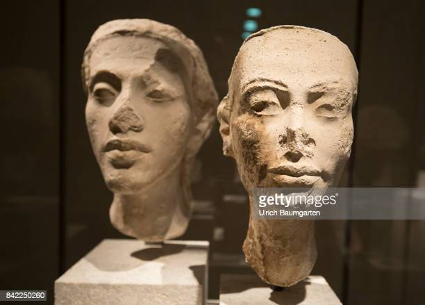 The New Museum on the Museum Island in Berlin The photo shows the potrait heads of the royal couple Nefertiti and Akhenaten