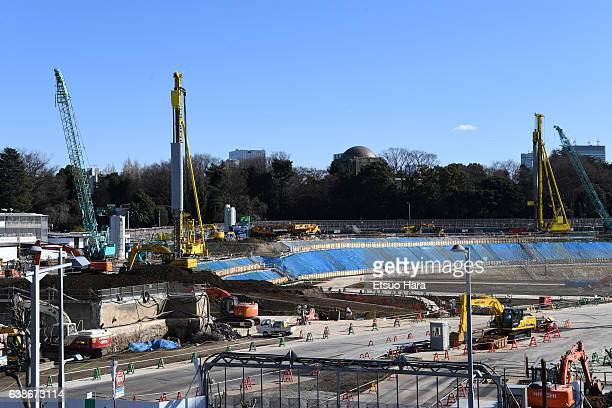 The new national stadium is under construction on January 15 2017 in Tokyo Japan