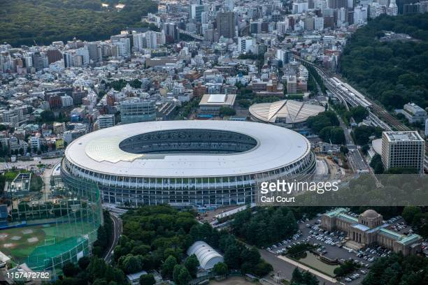 The New National Stadium the main stadium for the Tokyo 2020 Olympics is pictured on July 24 2019 in Tokyo Japan Preparation is continuing on all...