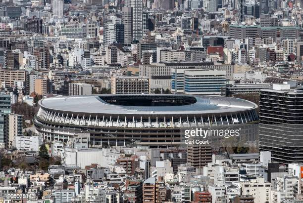 The New National Stadium, the main stadium for the Tokyo 2020 Olympics, is pictured on March 24, 2020 in Tokyo, Japan. Although an official decision...