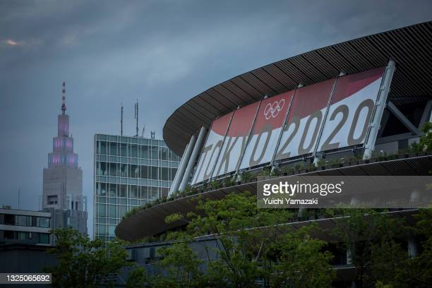 The New National Stadium, the main stadium for the Tokyo Olympics, is seen on June 23, 2021 in Tokyo, Japan. Today marks one month to go until the...
