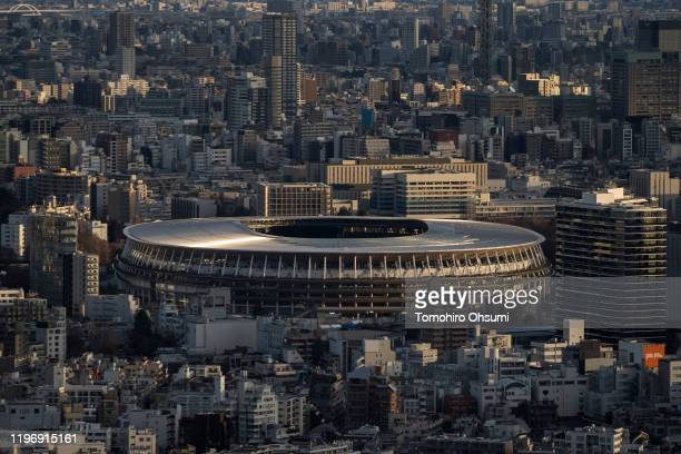 The new National Stadium, the main stadium for the upcoming Tokyo 2020 Olympic and Paralympic Games, is seen from the Shibuya Sky observation deck at...