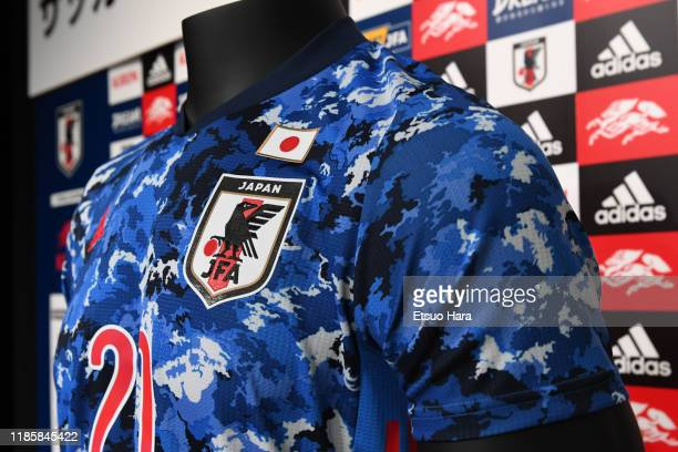 The new national team uniform is seen during the Japan Football National Team Uniform Unveiling on November 06, 2019 in Tokyo, Japan.