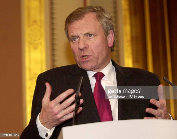 The new NATO secretary general General Jaap De Hoop Scheffer at a news conference at the Foreign and Commonwealth Office in London following a...