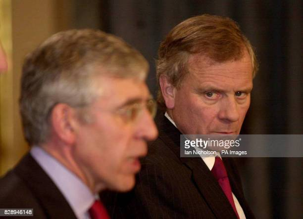 The new NATO secretary general General Jaap De Hoop Scheffer right with Foreign Secretary Jack Straw at a news conference at the Foreign and...