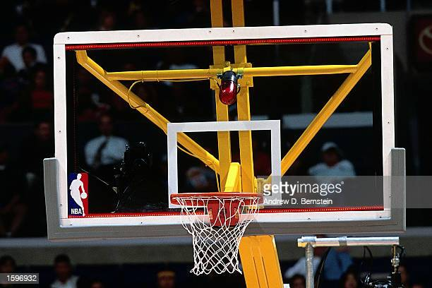 The new NBA light backboard lights up at the end of the game between the Milwaukee Bucks and the Los Angeles Lakers at the Staples Center in Los...