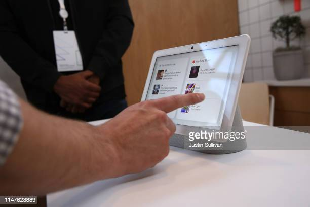 The new Nest Hub Max is displayed during the 2019 Google I/O conference at Shoreline Amphitheatre on May 07 2019 in Mountain View California Google...