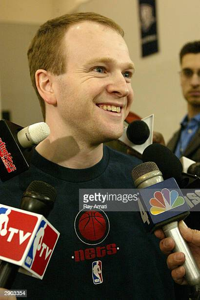 The new New Jersey Nets head coach Lawrence Frank meets with the media on January 26 2004 at the New Jersey Nets practice facility in East Rutherford...