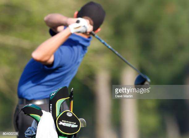 The new Nickent interchangeable shafts are pictured in the bag of Nationwide Tour player Dave Mathis as he prepares for the first round of the 2008...
