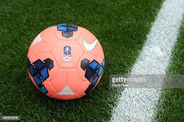 The new Nike mango coloured FA Cup football is used to test goal line cameras before the FA Cup 3rd Round match between Arsenal and Tottenham Hotspur...