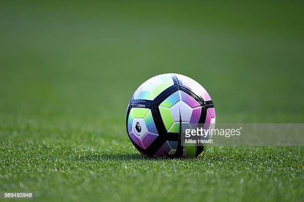 The new Nike match ball is pictured during the Premier League match between Arsenal and Liverpool at Emirates Stadium on August 14 2016 in London...