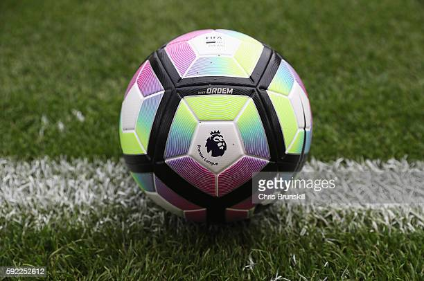 The new Nike Ordem match ball is pictured prior to the Premier League match between Stoke City and Manchester City at Bet365 Stadium on August 20...