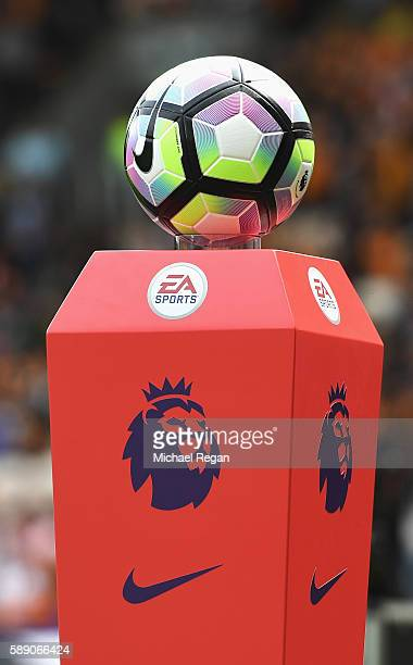 The new Nike Preimer League ball takes place on its stand prior to kick off during the Premier League match between Hull City and Leicester City at...
