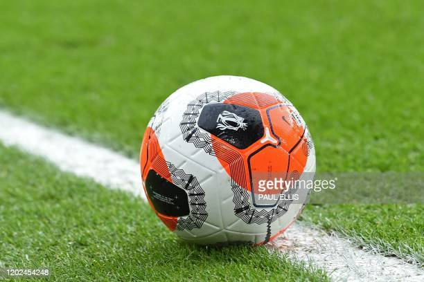 The new Nike Tunnel Vision Merlin ball used for the first time in today's games is pictured during the English Premier League football match between...