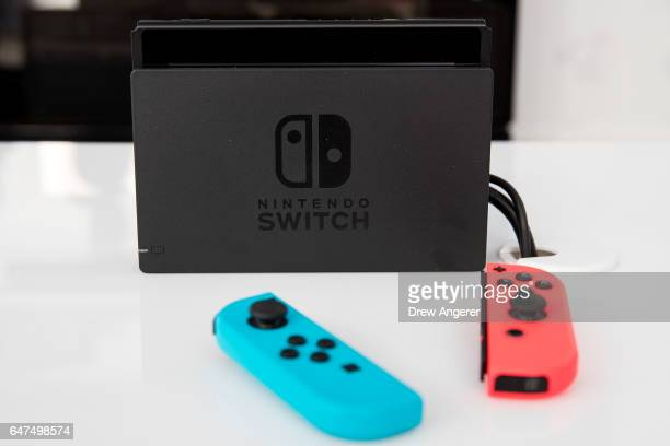 The new Nintendo Switch game console is displayed at a pop-up Nintendo venue in Madison Square Park, March 3, 2017 in New York City. The Nintendo...