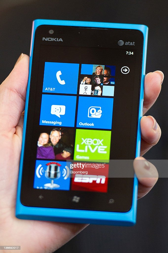 The new Nokia Lumia 900 operating on Windows OS is displayed during the 2012 International Consumer Electronics Show (CES) in Las Vegas, Nevada, U.S., on Tuesday, Jan. 10, 2012. The handset will be one of the first Windows-based phones to use the next- generation wireless technology known as long-term evolution, or LTE. Photographer: David Paul Morris/Bloomberg via Getty Images