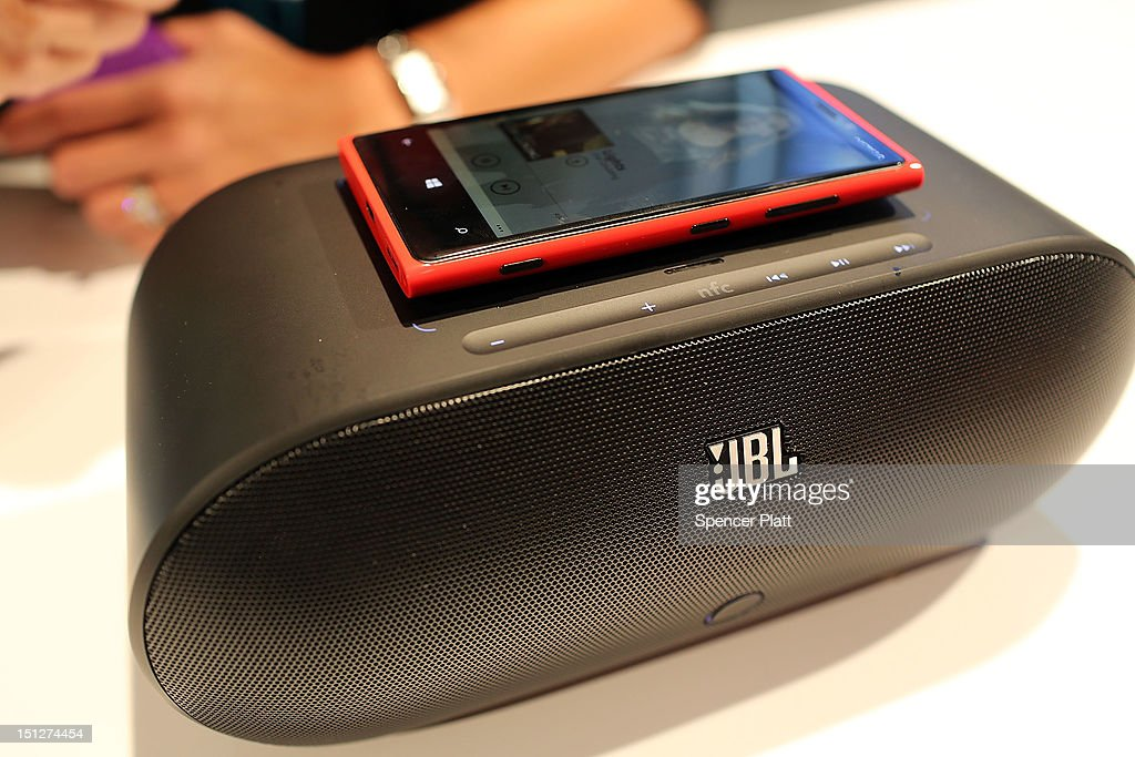 The new Nokia Lumia 920 charges on a speaker during the launch of the Lumia 920 and 820 Windows smartphones on September 5, 2012 in New York City. The new Nokia phones are the first smartphones built for Windows 8. Analysts see the new phones as Nokia's last chance to compete with fellow technology companies Apple and Samsung in the lucrative smartphone market.