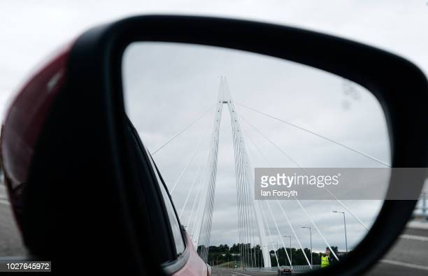 The new Northern Spire bridge spanning the River Wear officially opens to traffic on August 29 2018 in Sunderland England The new cable stayed bridge...