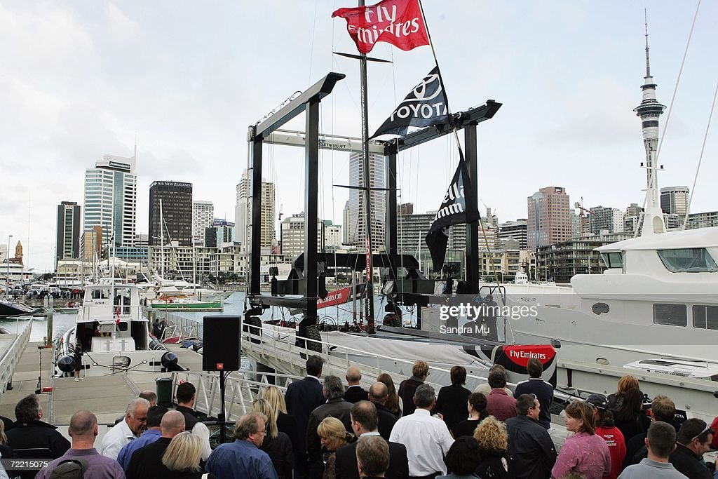 The new NZL 92 boat is lowered into the water during the Team New Zealand America's Cup boat launch at Viaduct Harbour on October 19, 2006 in Auckland, New Zealand.