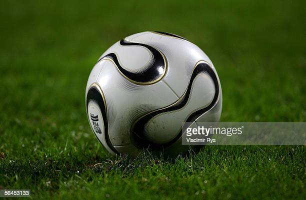 The new official ball of the World Cup 2006 from Adidas called 'Teamgeist' is seen during the Bundesliga match between Bayer Leverkusen and Hanover...
