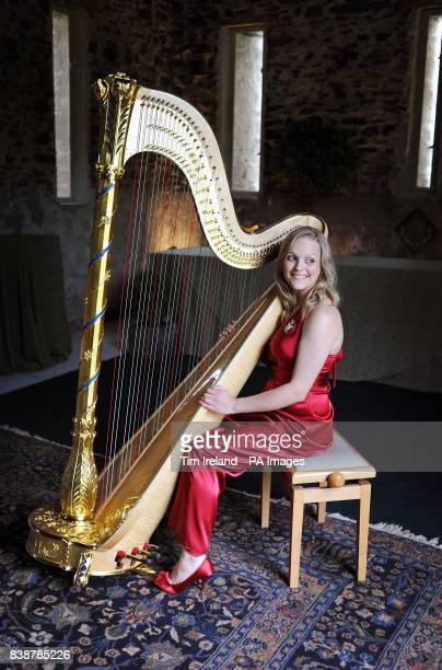 The new official harpist to the Prince of Wales Hannah Stone pictured during a reception for the Cambrian Mountain Initiative at the Prince's Welsh...