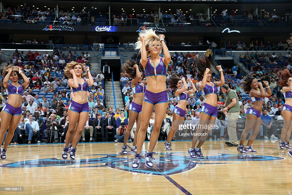 The New Orleans Hornets dance team performs during the game against the Los Angeles Clippers on April 12, 2013 at the New Orleans Arena in New Orleans, Louisiana.