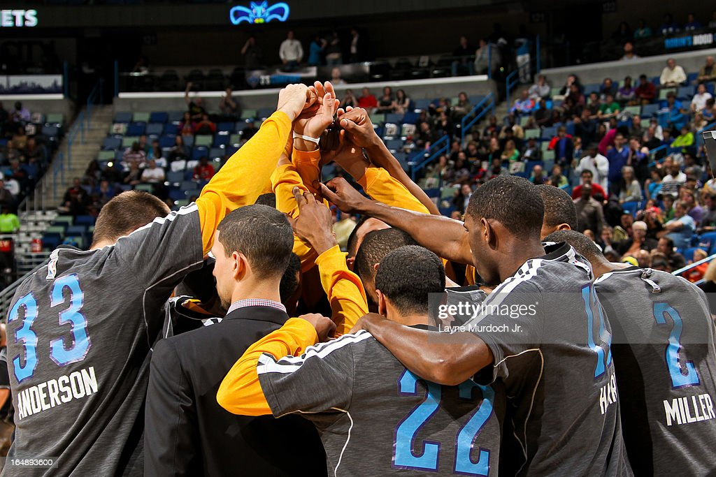 The New Orleans Hornets huddle up before a game against the Los Angeles Clippers on March 27, 2013 at the New Orleans Arena in New Orleans, Louisiana.