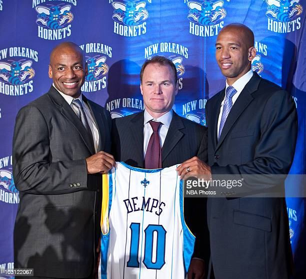 The New Orleans Hornets introduce Dell Demps as their new general manager on July 27 2010 at Emril's Delmonico in New Orleans Louisiana General...