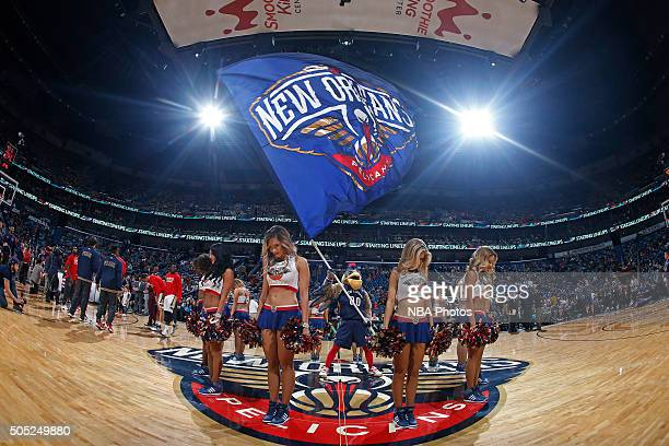 The New Orleans Pelicans dance team performs before the game against the Charlotte Hornets on January 15 2016 at the Smoothie King Center in New...