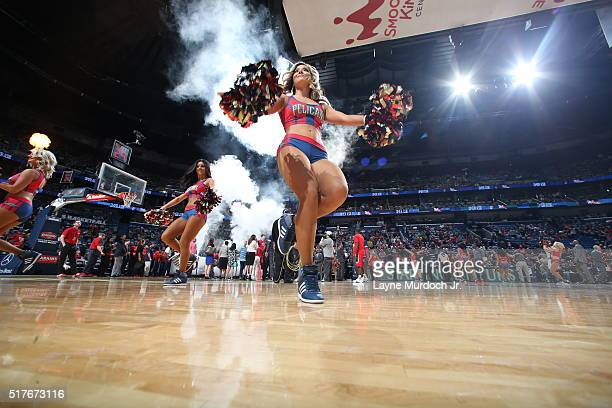 The New Orleans Pelicans dance team performs before the game against the Toronto Raptors on March 26 2016 at Smoothie King Center in New Orleans...