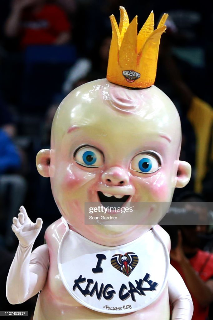 The New Orleans Pelicans King Cake Baby Is Seen During The