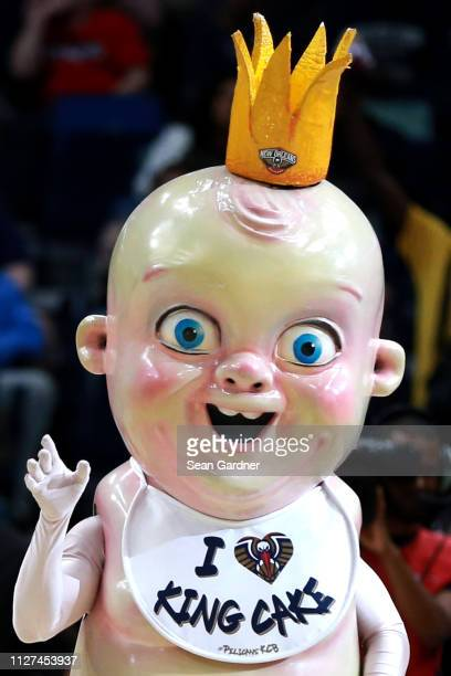 The New Orleans Pelicans King Cake baby is seen during the second half of a game against the Indiana Pacers at the Smoothie King Center on February...