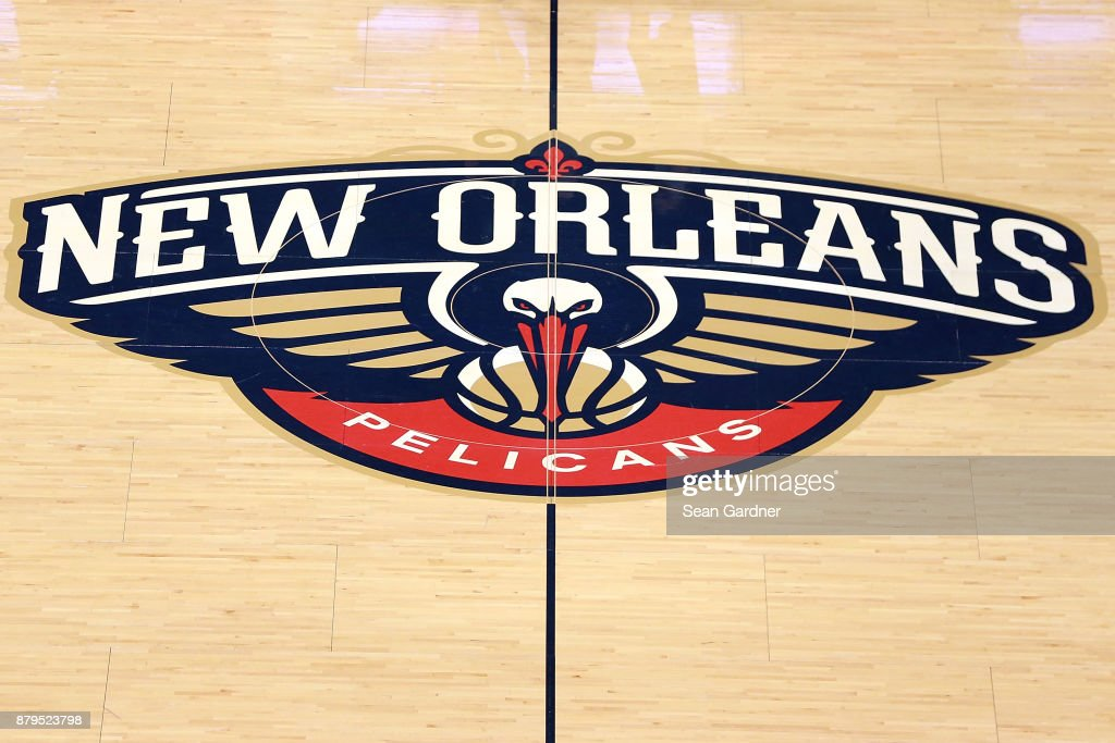 The New Orleans Pelicans Logo Sits Center Court During The