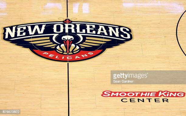 The New Orleans Pelicans logo sits center court during the first half of a NBA game against the San Antonio Spurs at the Smoothie King Center on...