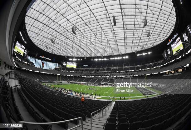 The New Orleans Saints and the Las Vegas Raiders are shown during the opening kickoff during the first half of the NFL game at Allegiant Stadium on...