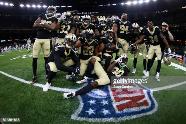The New Orleans Saints celebrate after a game against the New York Jets at the MercedesBenz Superdome on December 17 2017 in New Orleans Louisiana