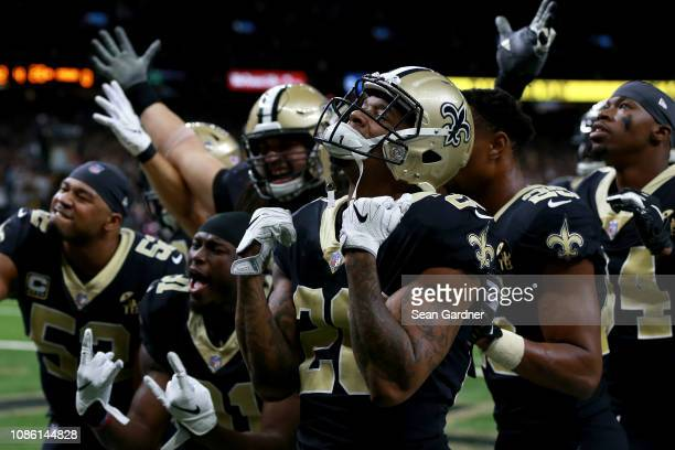 The New Orleans Saints celebrate during the second half against the Pittsburgh Steelers at the MercedesBenz Superdome on December 23 2018 in New...