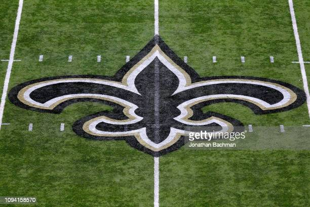 The New Orleans Saints logo is pictured during the NFC Divisional Playoff against the Philadelphia Eagles at the Mercedes Benz Superdome on January...