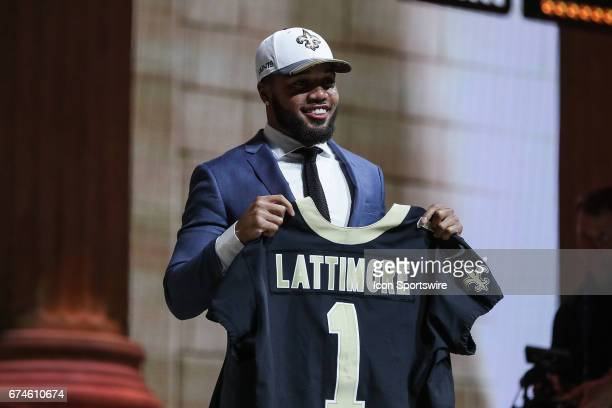 The New Orleans Saints select Marshon Lattimore from Ohio State wth the 11th pick at the 2017 NFL Draft at the 2017 NFL Draft Theater on April 27...