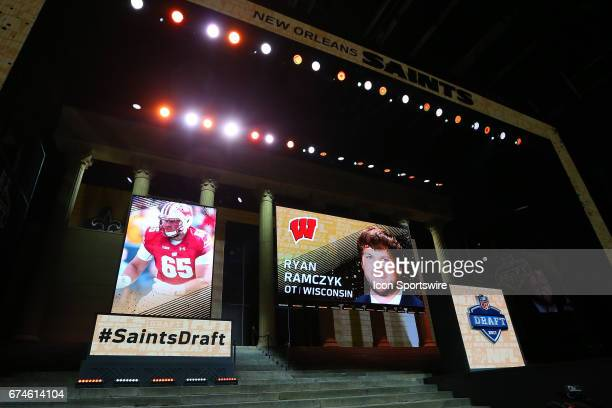 The New Orleans Saints select Ryan Ramczyk from Wisconsin with the 32nd pick at the 2017 NFL Draft at the NFL Draft Theater on April 27 2017 in...