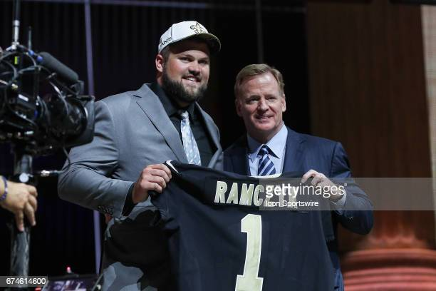 The New Orleans Saints select Ryan Ramczyk from Wisconsin with the 32nd pick at the 2017 NFL Draft poses with NFL Commissioner Roger Goodell at the...